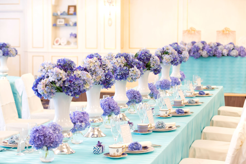 JuneBrideにぴったりな紫陽花をたくさん使った会場 | 高知県高知市の結婚式場ドリーマーベイシャトー